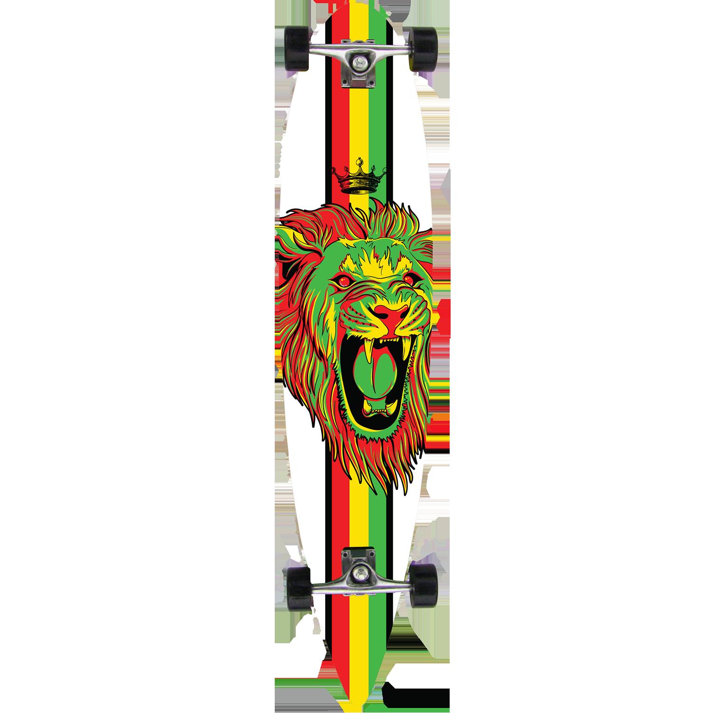 Krown Longboard Complete Pintail Rasta Lion 9″ x 43″