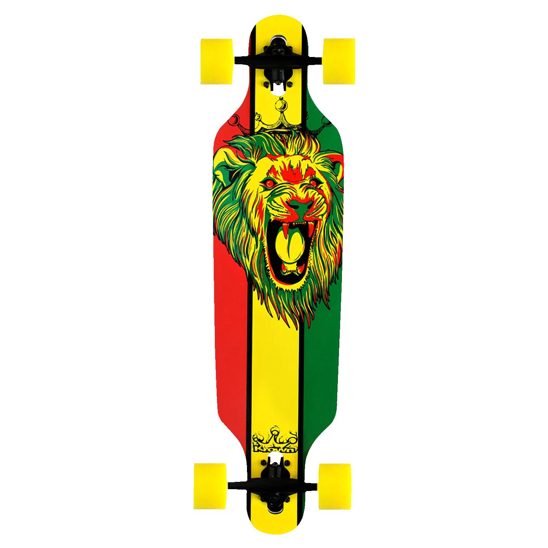 Krown Longboard Complete Elite Drop Through Rasta Lion – Yellow Wheels 9.25″ x 36″